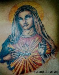 Colourful jesus classic look tattoo